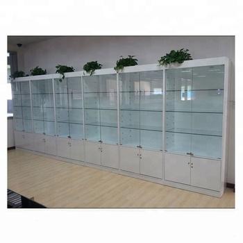 Modern Gl Mdf Wood Showcase White