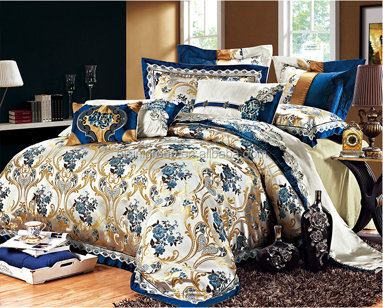 Luxury Victorian Royal Blue Embroidered Bedding Set for Wedding BF11-10312a
