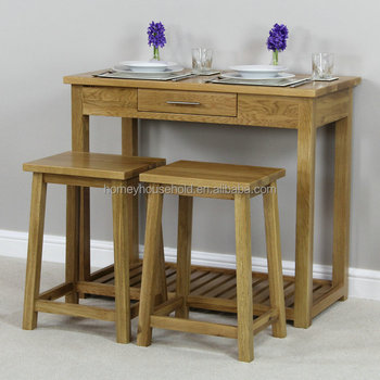 London Solid Oak Breakfast Bar Kitchen Table And 2 Stools - Buy High Tables  And Bar Stools,Wooden Bar Table And Stool,Nested Table And Stools Product  ...