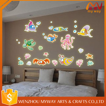 fish stickers for kids,glow dark ceiling stickers,lovely waterproof