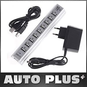 Skuleer(TM)5Pcs/lot USB 2.0 10 Ports Hub + Power Adaptor PC Notebook EU Plug 10-Port USB Hub Drop