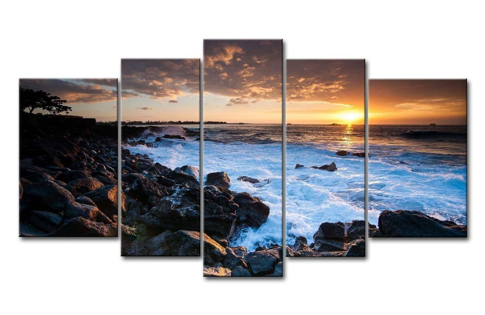 5 Panel Wall Art Painting Hawaii Coast Sunset Pictures Prints On Canvas Seascape The Picture Decor Oil For Home Modern Decoration Print