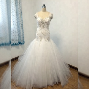 Winter and autumn backless fishtail ball gown beaded wedding dress