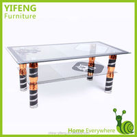 cheap Chinese furniture glass coffee table with printed flower