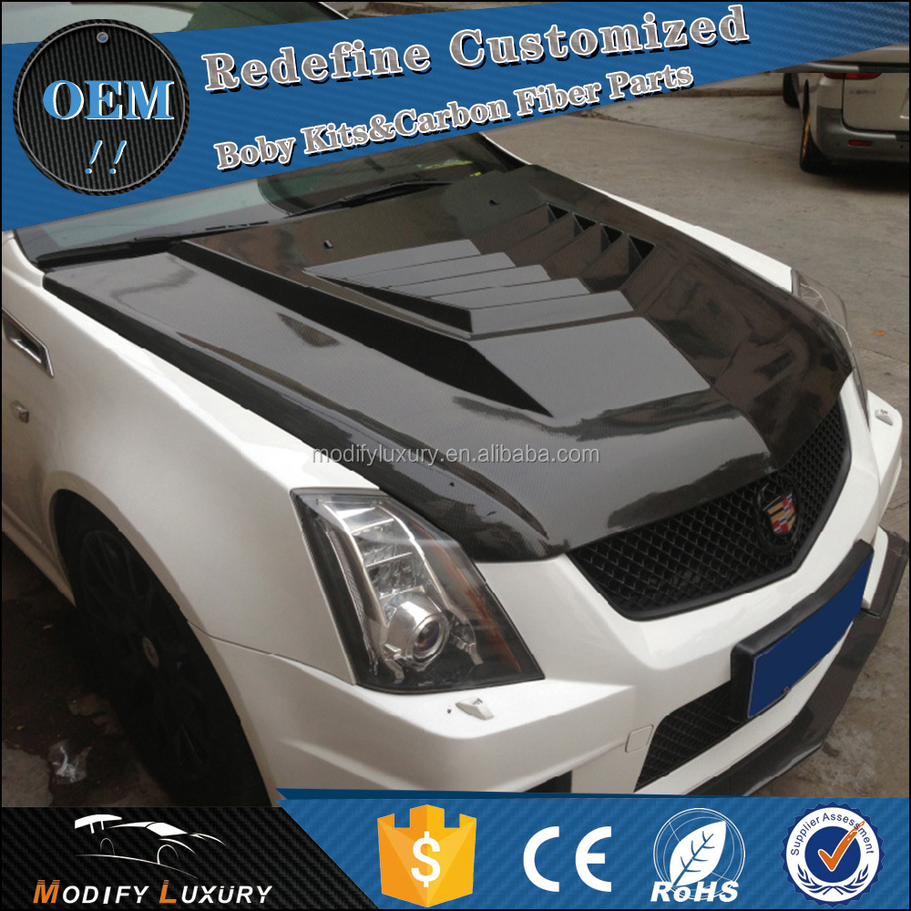 Car Parts Carbon Fiber ML Style CTS V Engine Hoods Bonnet for Cadillac CTS-V 2012up