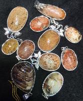 oval natural rough Phantom crystal quartz pendant jewellery