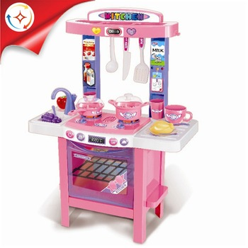 Newest 34pcs Kids Educational Big Kitchen Play Set Toy With Music and Light