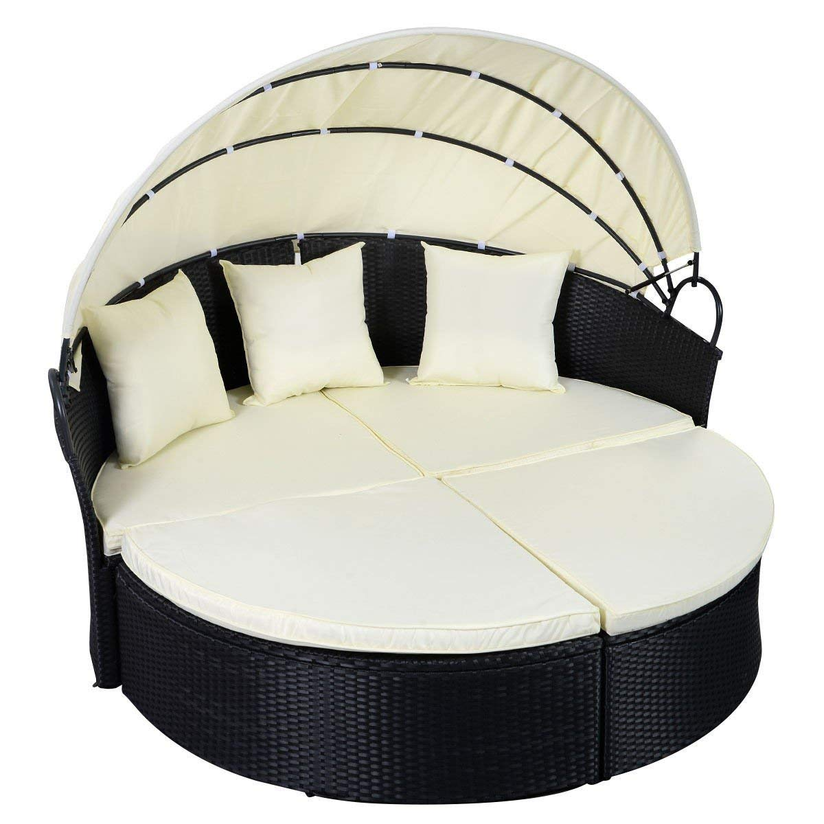 Svitlife Outdoor Patio Rattan Round Retractable Canopy Daybed Canopy Daybed Wicker Rattan Furniture Black 2 1 Sunbed