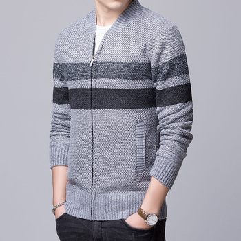 2018 winter classic o neck men thick cardigan zip up open front casual knitted warm coat cheap stripe