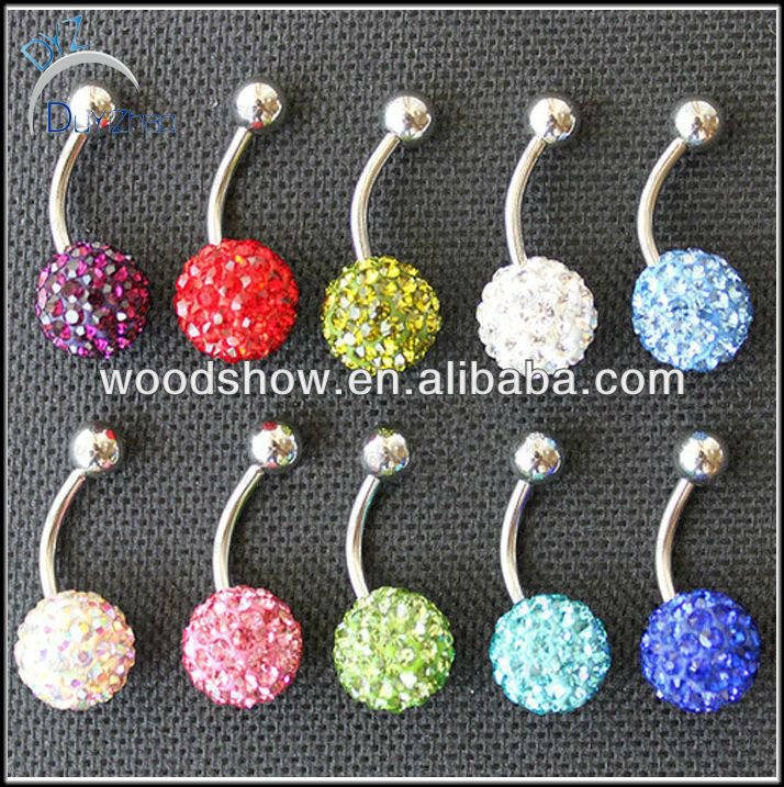 pave bead wholesale navel belly rings body piercing jewelry