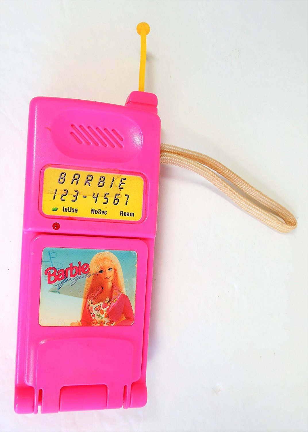"""8"""" Vintage Barbie Super Talking Cellular Pink Flip Toy Cell Phone with Real Phone Sounds - 1995"""