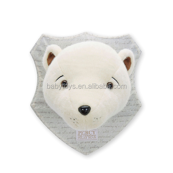 christmas white plush polar bear head decoration on the wall buy