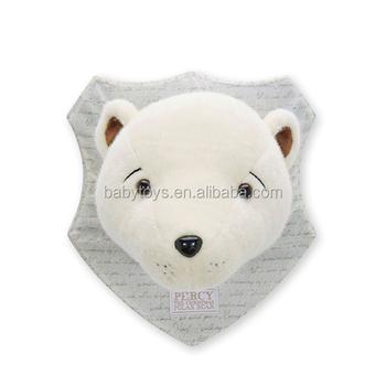 Christmas White Plush Polar Bear Head Decoration On The Wall - Buy ...