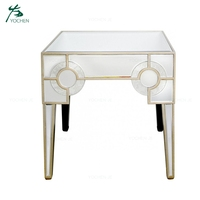 Sofa Side Mirrored End Table Nightstand for Living Room Furniture