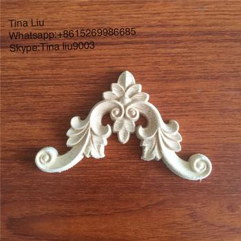 Wood Carving Lique Unpainted Flower Corner Decal Furniture Decals Antique