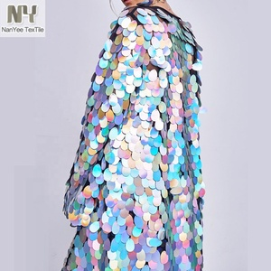 China Wholesale New Fashion Custom Big Silver Iridescent Sparkle Large Sequin Fabric