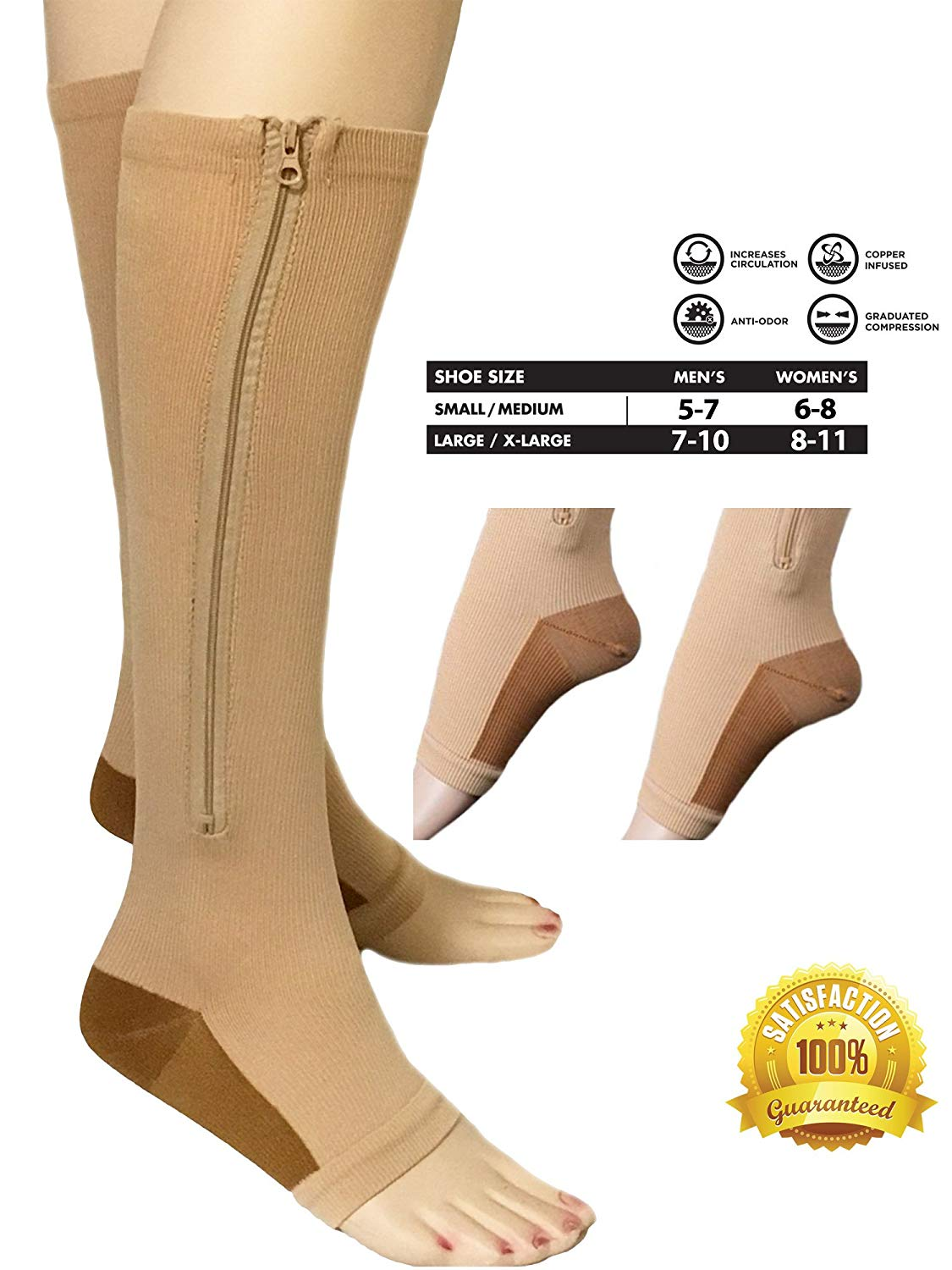 1f4e5533cd Get Quotations · Copper Infused Compression Socks with Zipper 20-25 mmHg  Beige Nude Open Toe FREE Eyeglass