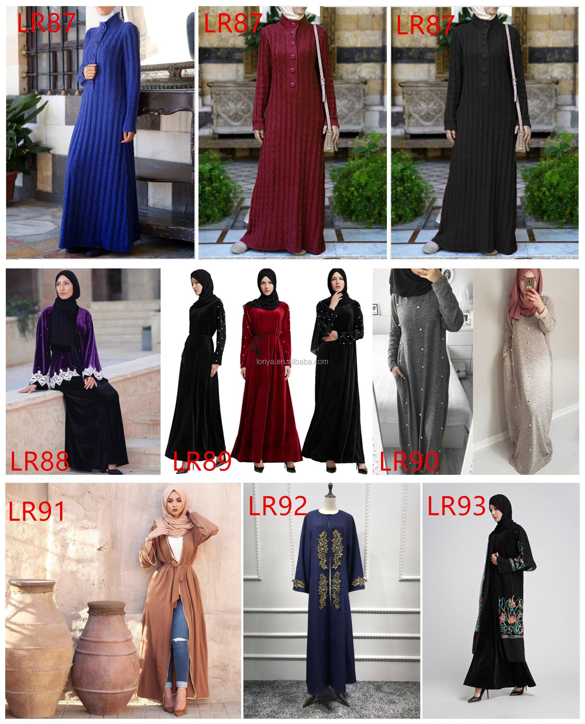 Newest Turkish Warm Maxi Loose Dress Knitted Cotton Pearl Islamic clothing Women Casual Abaya