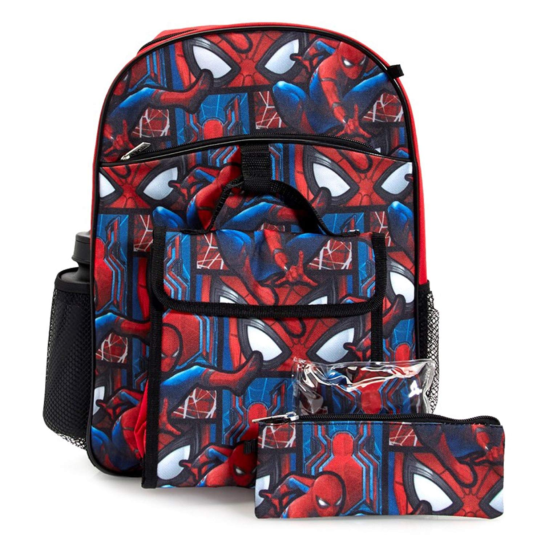 Marvel Spiderman Backpack & Lunch Bag 5-Piece Set