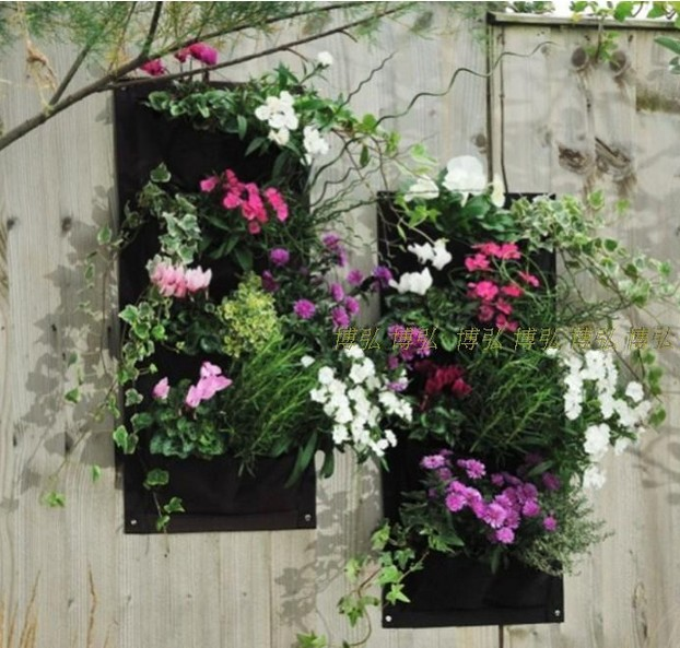 Us 5 41 5 Off Vertical Garden Planter Wall Mounted Polyester Hanging Flower Pots Living Indoor Wall Planter 4 Pockets 30cmx60cmx2mm In Flower Pots