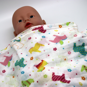 100% organic cotton 47*47' very soft muslin baby swaddle blanket