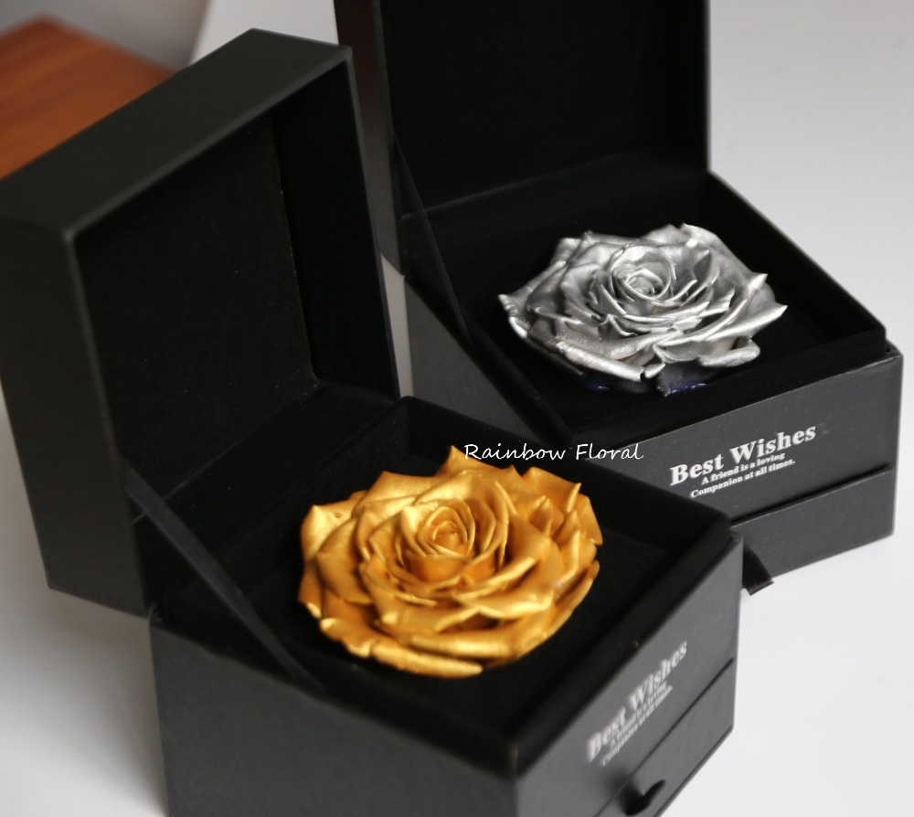 A grade huge rose in gift box with drawer gold and silver color are avariable