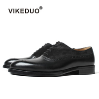 VIKEDUO Made In China Guangzhou Handmade Brogues Oxfords Man Latest Formal Shoes Mens Shoes Genuine Leather