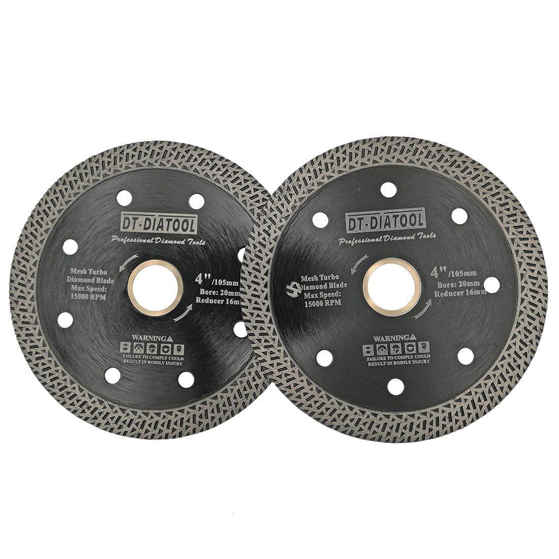 DT-DIATOOL Mesh Turbo Diamond Blade Hot Pressed Sintered Granite Marble Tile Ceramic Brick Diamond Cutting Disc Diameter 4 Inch Pack of 2