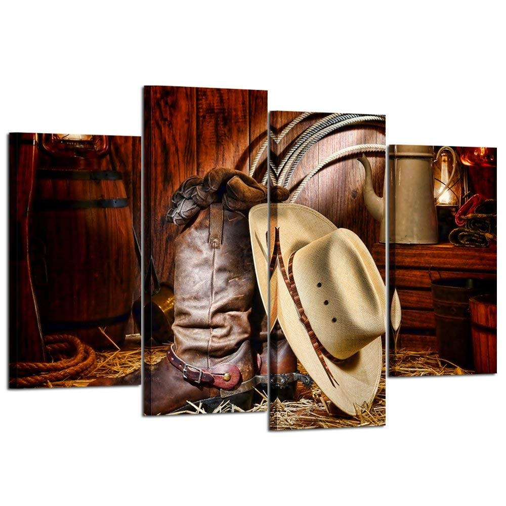 ed107b10f5b Get Quotations · Kreative Arts 4 Pieces Canvas Prints Wall Art American  West Rodeo Cowboy White Straw Hat on