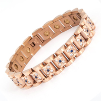 Unique butter fly CNC zircon design stainless steel gold plated energy magnetic bracelet health germanium bracelet 99.99%