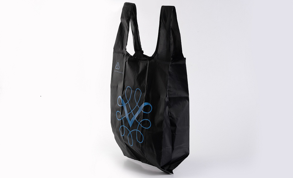 Custom printed black t shirt bag reusable rpet polyester for Personalized t shirt bags