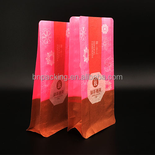 custom printed snack food packets flat based rice paper bag