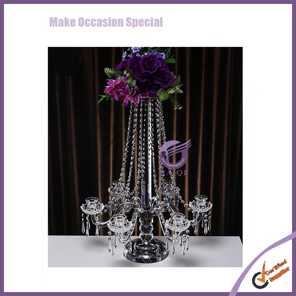 ZT00340 Wedding Metal Tall Dining Table Centerpieces Decorations Acrylic Candelabra with Flower Bowl