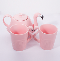 Customized funky style decorative flamingo shape pink ceramic animal teapot and cup set