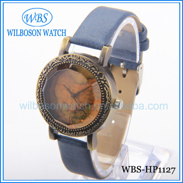 Brass color case leather band wrist watch lady fashion style