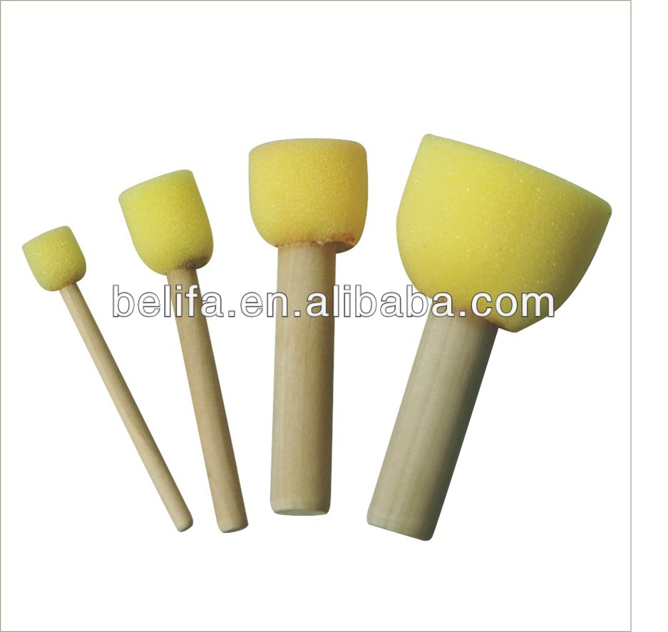 high quality cosmetic yellow sponge with wood handle flat top girls love