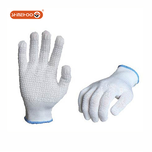 SHINEHOO Construction works white pvc dotted Anti Slip PVC glove