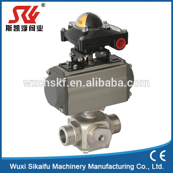 DN50 pneumatic control ss304 three way ball valve with pneumatic actuator for water with long life