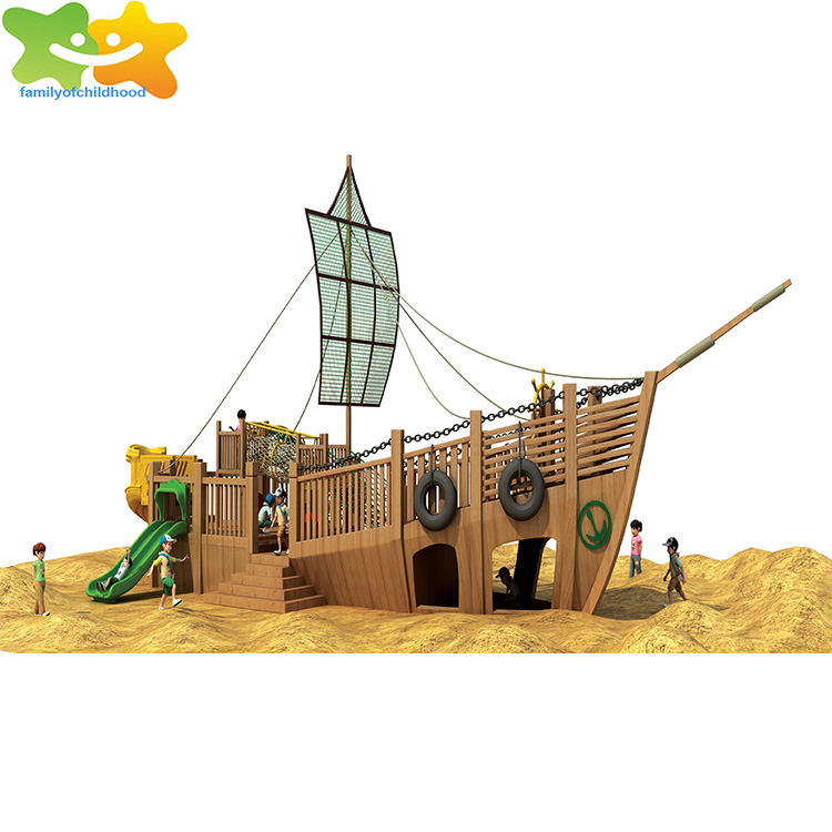 Wooden children pirate ship playground equipment outdoor playground for sale