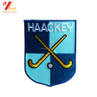 Custom fabric applique Sport Club iron on embroidered hockey patches for garment sports wear