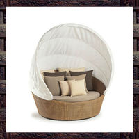 patio furniture with canopy wicker/rattan round lounge chair