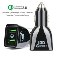 IBD hot sale top quality quick charge 2.0 dual port car charger for samsung s6 HTC M8