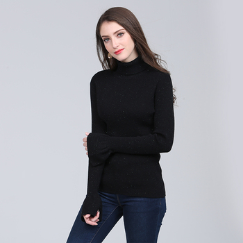 Flash sequins yarms turtle neck flare sleeve sweater bottom shirt knitwear