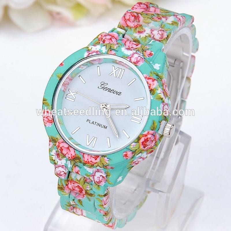 99a36f31d59 genebra rosa flor relógio de senhoras e meninas floral mulheres relógios de  quartzo relógio de pulso