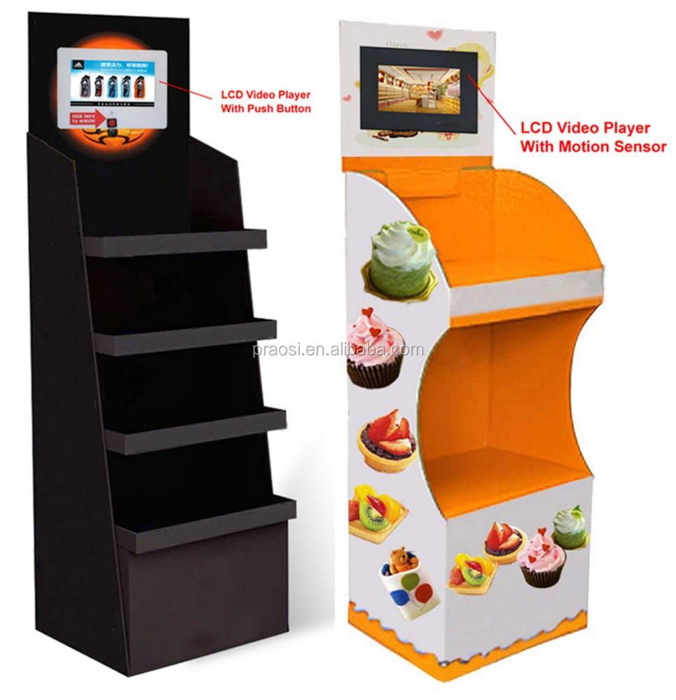 Напольные стеллажи/картонный поп-дисплей с видеоплеером для розничного магазина дисплей