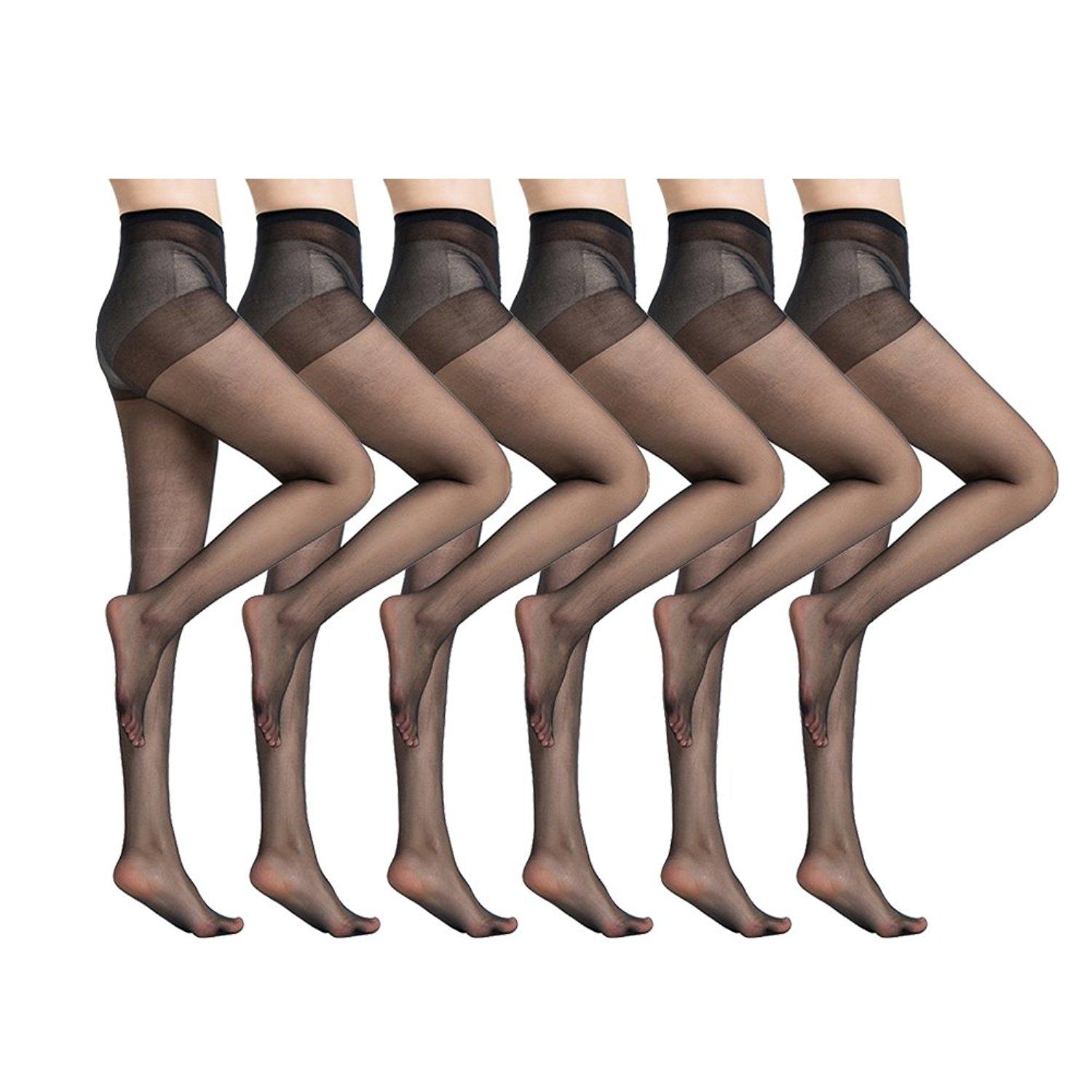 7a2e9a9b0 Get Quotations · MANZI Women s 6 Pairs Ultra-Soft Nylon Sheer Tights  Pantyhose 20 Denier