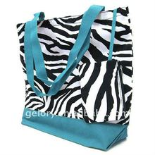 Printed cotton canvas fabrics tote bags,Zebra printed shopping bag with small zipper pocket inside