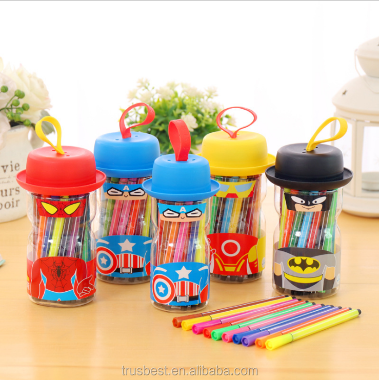2018 colorful fine tip art drawing water color stamper marker pen for child