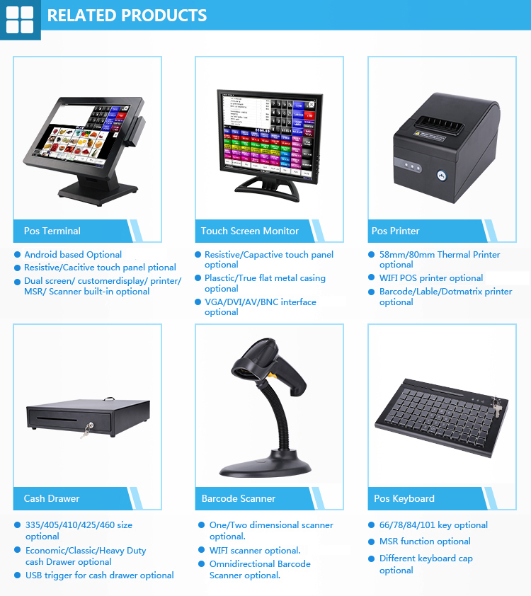15 inch touch screen monitor TFT LED display for POS monitor