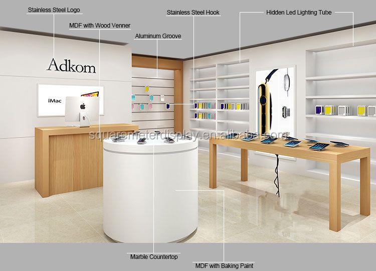 Customized Free Design Wooden Mobile Phone Shop Decoration Design ...